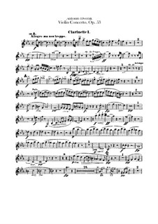 Concerto for Violin and Orchestra in A Minor, B.108 Op.53: Clarinets parts by Antonín Dvořák