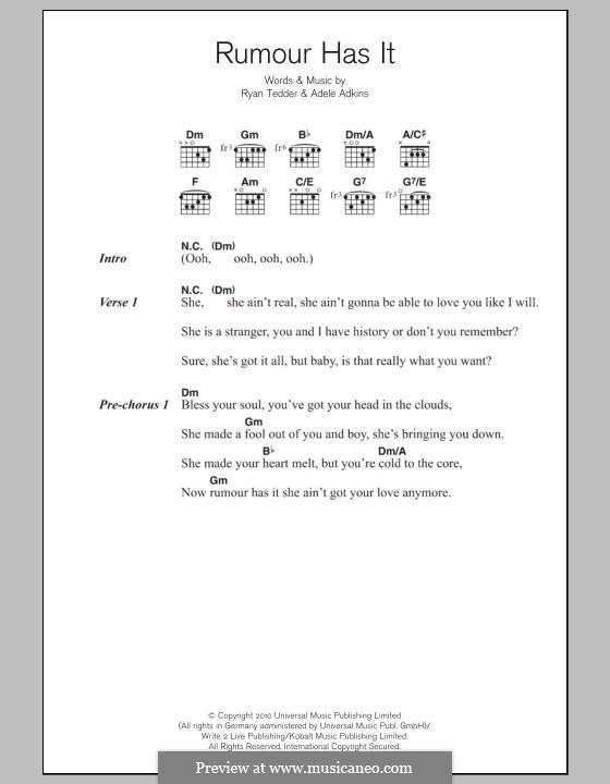 Rumour Has It: Lyrics and chords by Adele, Ryan B Tedder