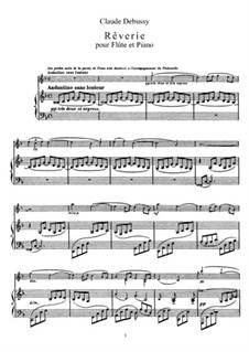 Rêverie, L.68: For flute and piano by Claude Debussy