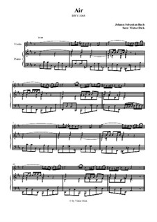 Aria. Arrangement for two performers: Violin and piano by Johann Sebastian Bach
