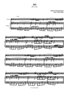 Aria. Arrangement for two performers: Viola and piano by Johann Sebastian Bach