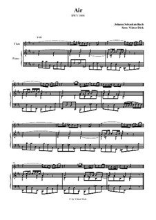 Aria. Arrangement for two performers: Flute and piano by Johann Sebastian Bach