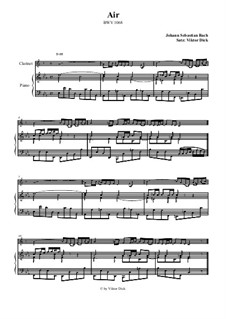 Aria. Arrangement for two performers: Clarinet and piano by Johann Sebastian Bach