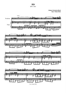 Aria. Arrangement for two performers: Trombone and piano by Johann Sebastian Bach