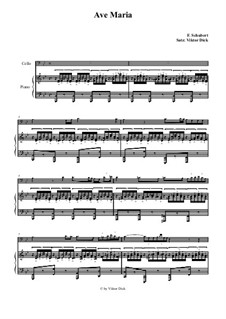 Ave Maria, for Two Instruments, D.839 Op.52 No.6: For cello and piano by Franz Schubert