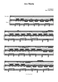 Ave Maria, for Two Instruments, D.839 Op.52 No.6: For recorder and piano by Franz Schubert