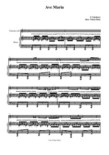 Ave Maria, for Two Instruments, D.839 Op.52 No.6: For clarinet and piano by Franz Schubert
