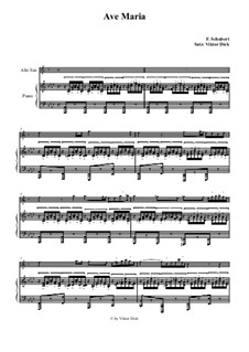 Ave Maria, for Two Instruments, D.839 Op.52 No.6: For alto saxophone and piano by Franz Schubert