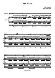 Ave Maria, for Two Instruments, D.839 Op.52 No.6: For recorder and organ by Franz Schubert