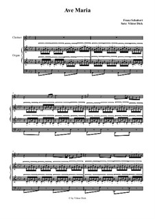 Ave Maria, for Two Instruments, D.839 Op.52 No.6: For clarinet and organ by Franz Schubert