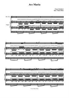 Ave Maria, for Two Instruments, D.839 Op.52 No.6: For alto saxophone and organ by Franz Schubert