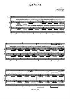 Ave Maria, for Two Instruments, D.839 Op.52 No.6: For oboe and organ by Franz Schubert
