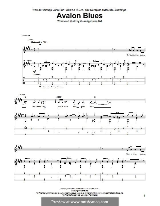 Avalon Blues: For guitar by Mississippi John Hurt