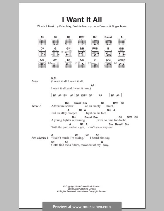 I Want it All (Queen): Lyrics and chords by Brian May, Freddie Mercury, John Deacon, Roger Taylor