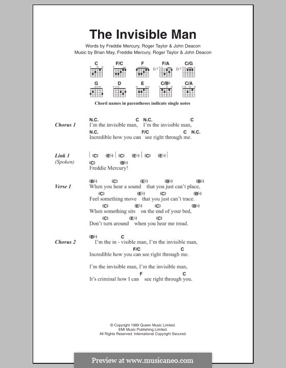 The Invisible Man (Queen): Lyrics and chords by Brian May, Freddie Mercury, John Deacon, Roger Taylor