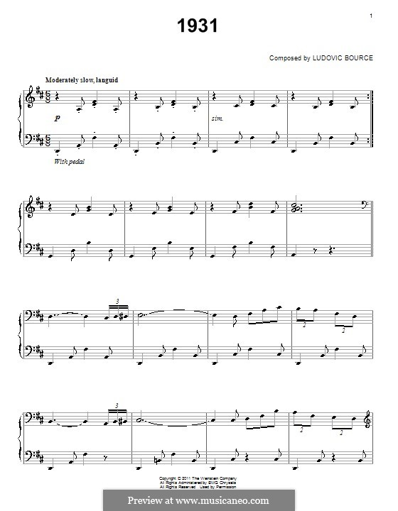 1931: For piano by Ludovic Bource