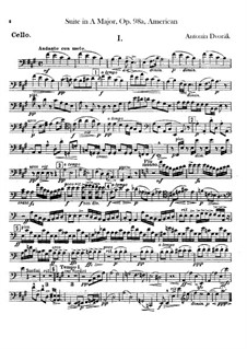 American Suite for Orchestra, B.190 Op.98b: Cello part by Antonín Dvořák