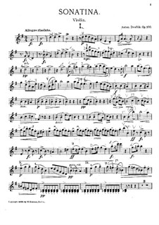 Sonatina for Violin and Piano in G Major, B.183 Op.100: Solo part by Antonín Dvořák