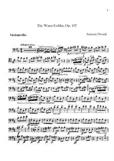Vodník (The Water Goblin), B.195 Op.107: Cello part by Antonín Dvořák