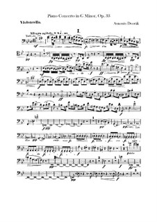 Concerto for Piano and Orchestra in G Minor, B.63 Op.33: Cellos part by Antonín Dvořák
