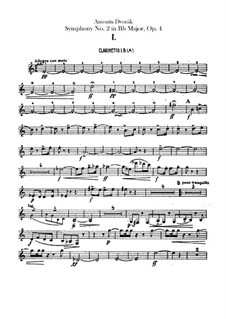 Symphony No.2 in B Flat Major, B.12 Op.4: Clarinets parts by Antonín Dvořák
