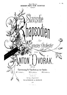 Rhapsody No.2 in G Minor: For piano four hands by Antonín Dvořák