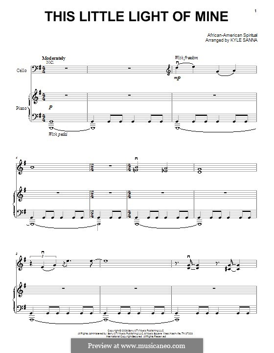 This Little Light of Mine: For voice and piano or guitar (high quality sheet music) by folklore