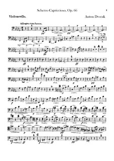 Scherzo Capriccioso, B.131 Op.66: Cello part by Antonín Dvořák