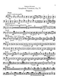 Symphonic Variations on 'Já jsem huslar', B.70 Op.78: Percussions parts by Antonín Dvořák