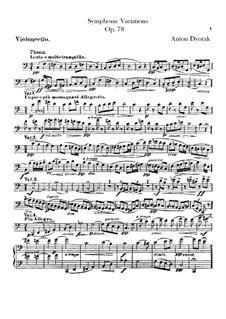 Symphonic Variations on 'Já jsem huslar', B.70 Op.78: Cello part by Antonín Dvořák