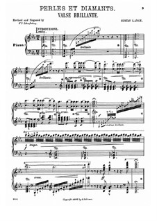Perles et diamants. Valse brillante, Op.27: For piano by Gustav Lange
