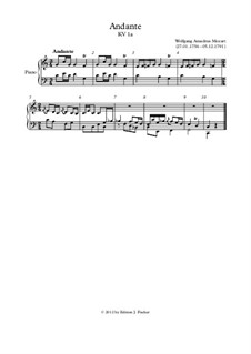 Andante in C Major, K.1a: Andante in C Major by Wolfgang Amadeus Mozart