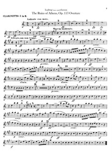 Overture: Clarinet I part by Ludwig van Beethoven