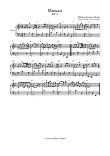 Minuet for Piano in F Major, K.4: For a single performer by Wolfgang Amadeus Mozart