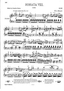 Sonata for Piano No.8 in A Minor, K.310: For a single performer by Wolfgang Amadeus Mozart