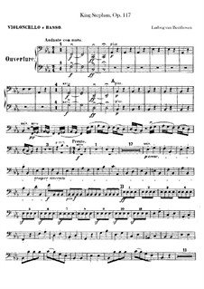 König Stephan (King Stephen), Op.117: Overture – cello and double bass part by Ludwig van Beethoven