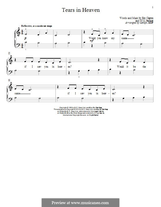 Tears in Heaven: For piano by Eric Clapton, Will Jennings