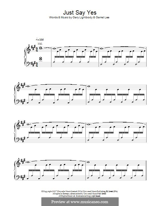 Just Say Yes: For voice and piano by Garret Lee, Gary Lightbody