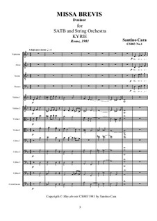 Missa Brevis for SATB and Strings, CS003: Complete set (with transcription for organ) by Santino Cara