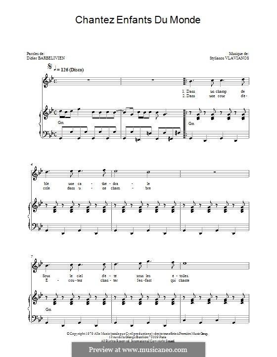 Chantez enfants du monde (Demis Roussos): For voice and piano by Stylianos Vlavianos