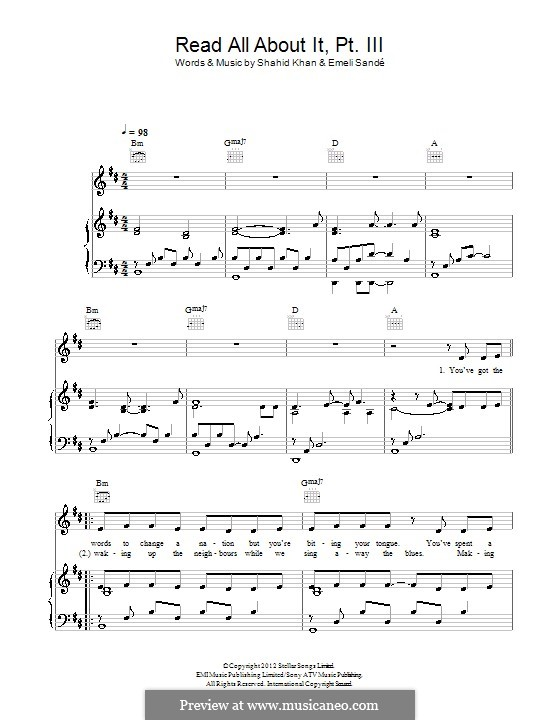 Read All About It: Part III, for voice and piano (or guitar) by Emeli Sandé