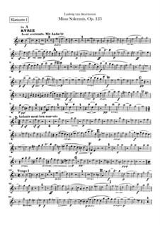 Missa Solemnis, Op.123: Clarinet I part by Ludwig van Beethoven