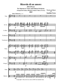 Ricordo di un amore. Slow Bossa ensemble: Full score, parts, transcription for soprano (or tenor) and piano by Santino Cara