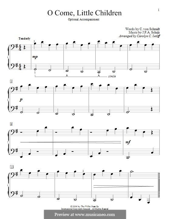 O Come, Little Children: For piano four hands by Johann Abraham Schulz