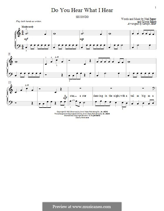 Do You Hear What I Hear, for Piano: For four hands by Gloria Shayne, Noël Regney