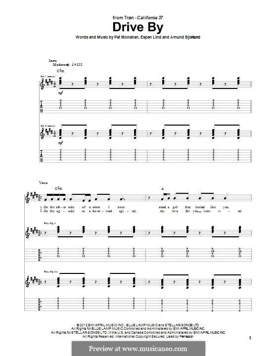 Drive By (Train): For guitar by Amund Bjorklund, Espen Lind, Patrick Monahan