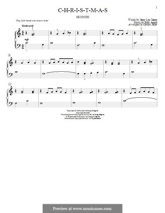 C-H-R-I-S-T-M-A-S (Perry Como): For piano by Eddy Arnold