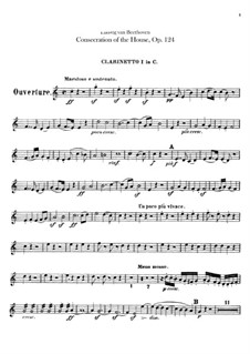 Die Weihe des Hauses (Consecration of the House), Op.124: Clarinets I, II parts by Ludwig van Beethoven