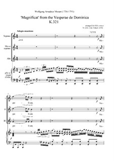 Vesperae de Dominica, K.321: Magnificat, for female choir and piano (or organ) by Wolfgang Amadeus Mozart