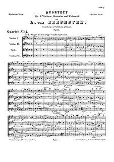 String Quartet No.14 in C Sharp Minor, Op.131: Full score by Ludwig van Beethoven